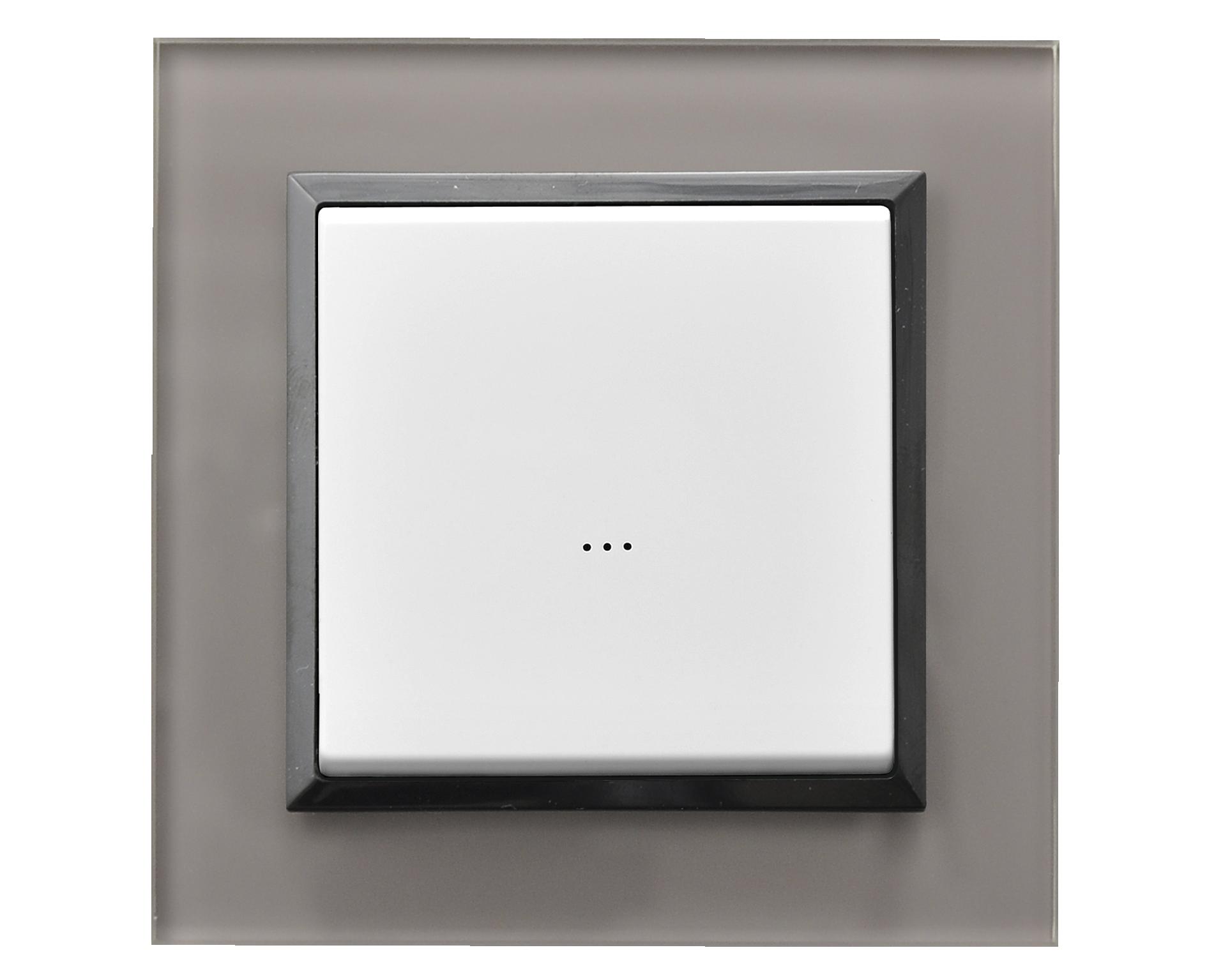 łącznik bezprzewodowy biały ramka szare szkło